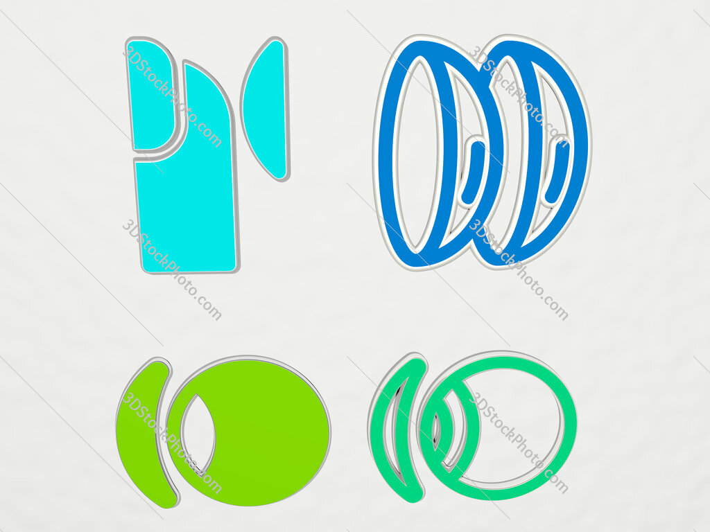 contact lens 4 icons set