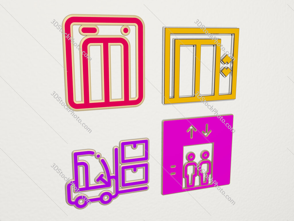 lift 4 icons set