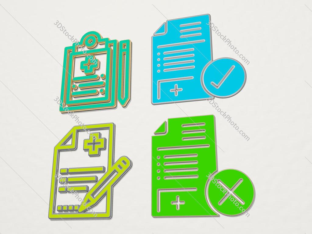 medical history 4 icons set