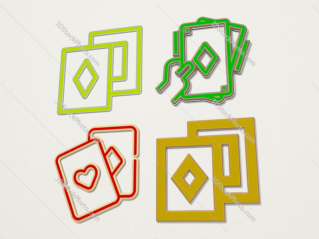 cards 4 icons set