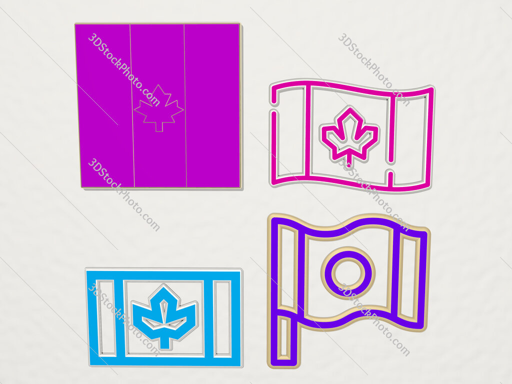 canada 4 icons set