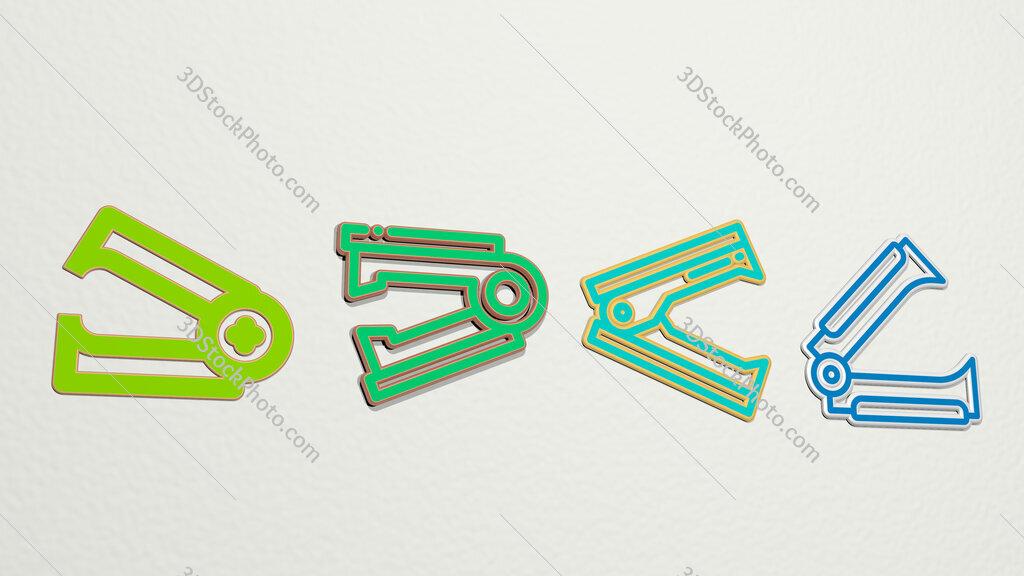 stapler remover 4 icons set