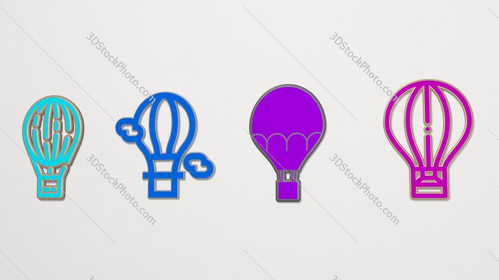 hot air balloon 4 icons set
