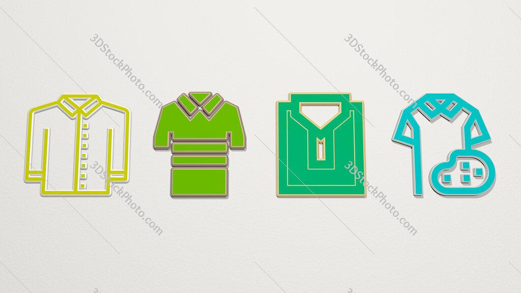 polo shirt 4 icons set