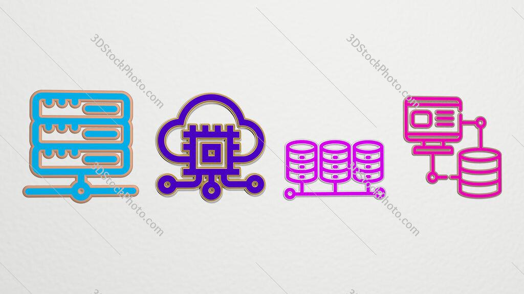 hosting 4 icons set
