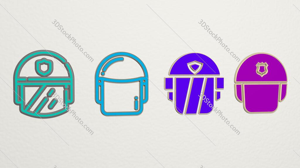 police helmet 4 icons set