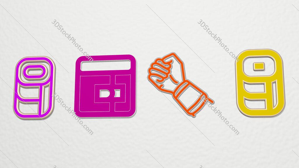 wristband 4 icons set