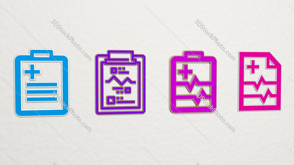 medical result 4 icons set