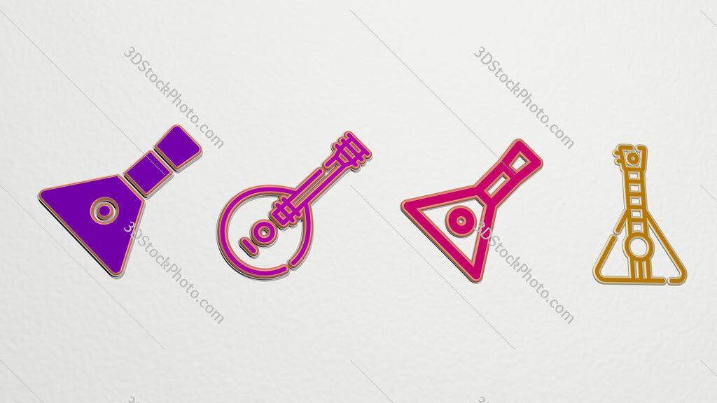 balalaika 4 icons set