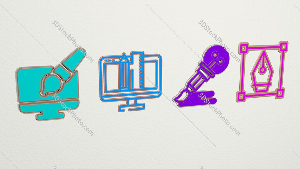 graphic design 4 icons set