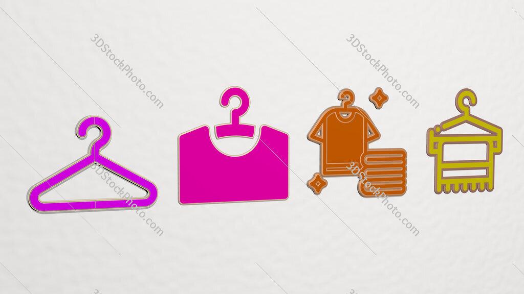 clothes hanger 4 icons set