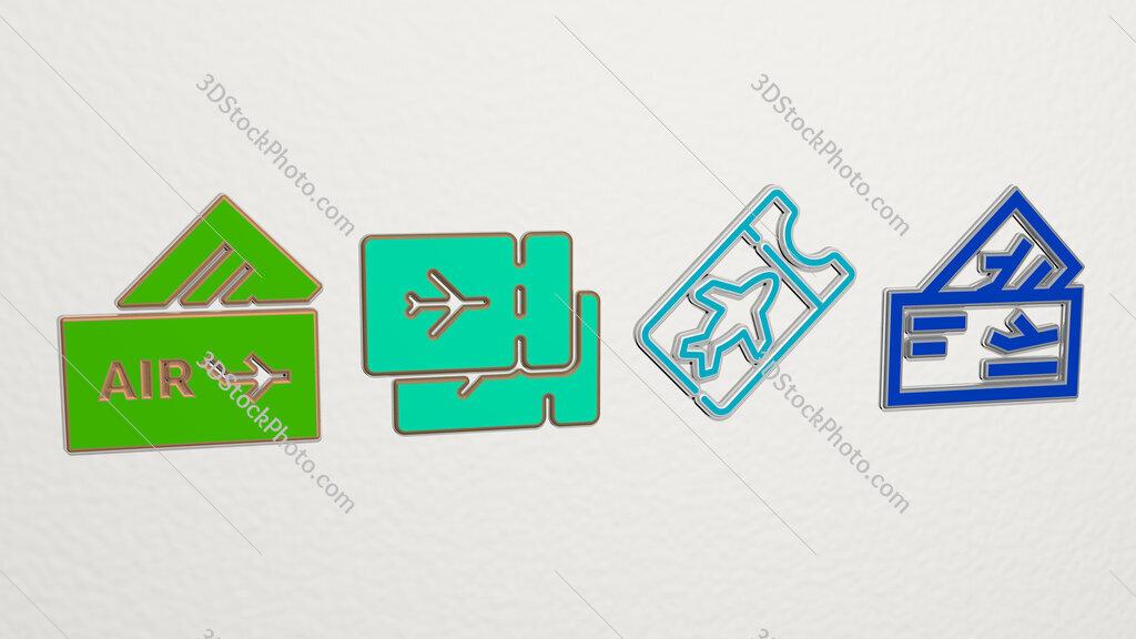 plane tickets 4 icons set