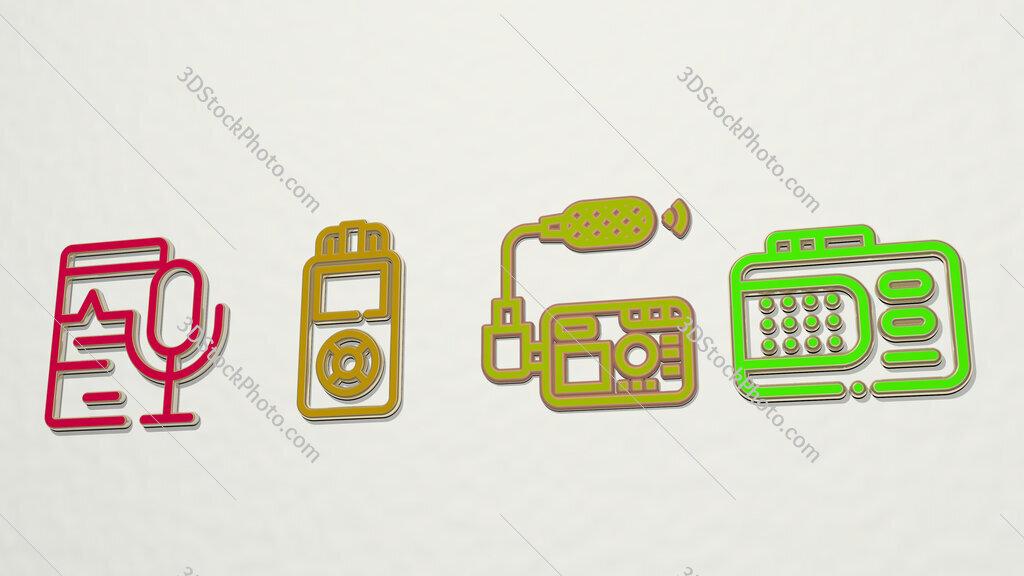 voice recorder 4 icons set