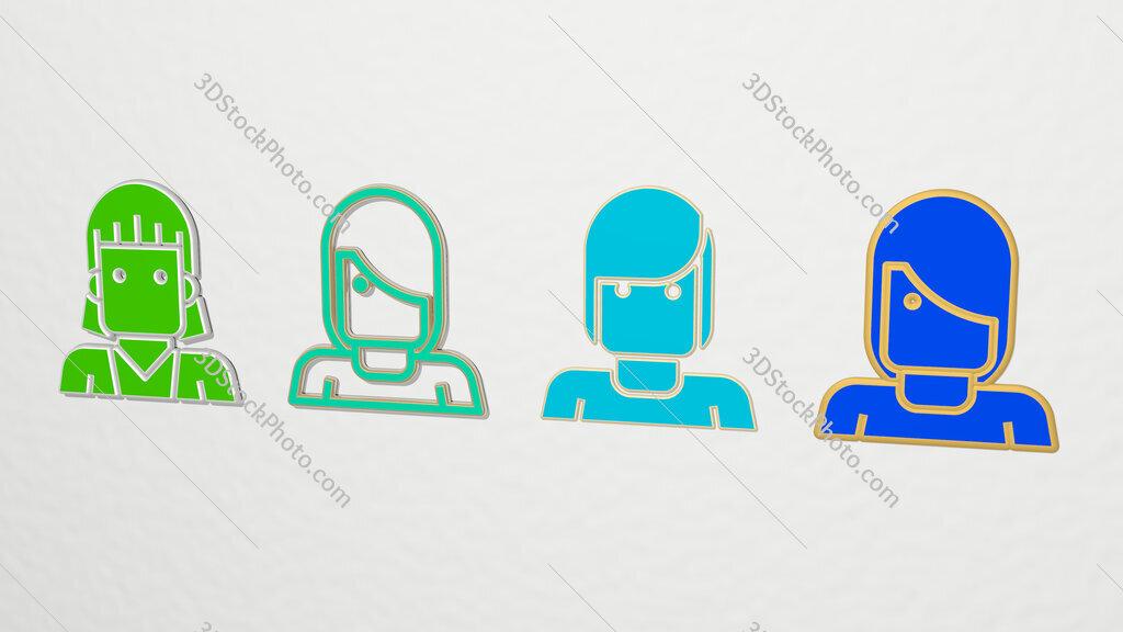 short hair 4 icons set