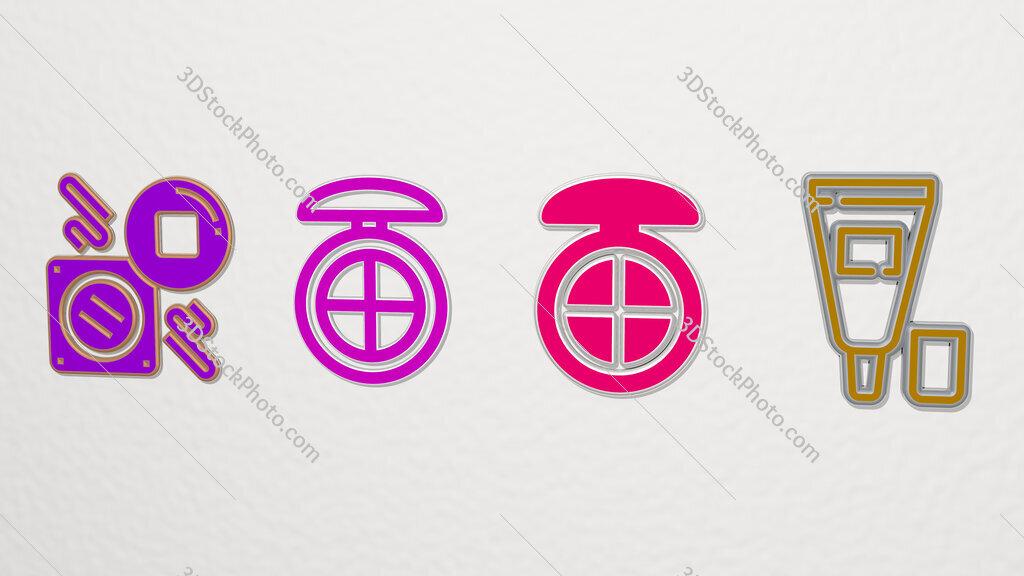 concealer 4 icons set