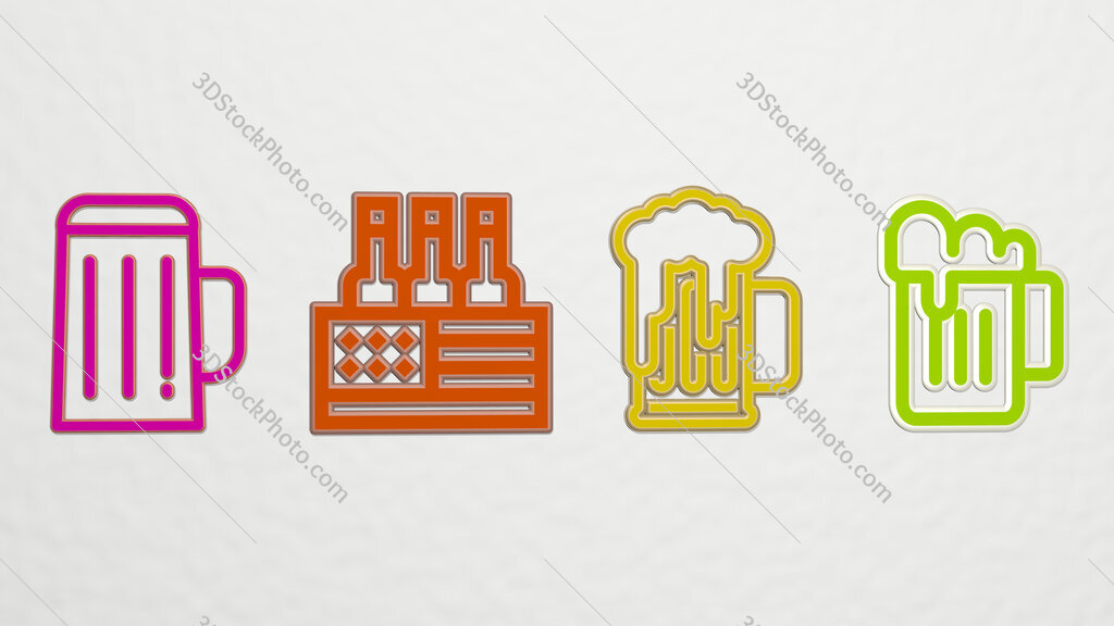 beer 4 icons set