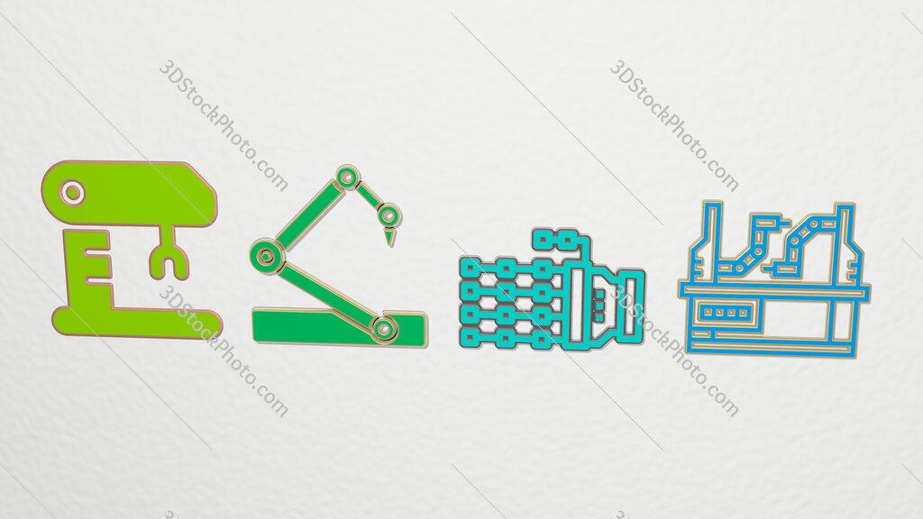 robotic arm 4 icons set