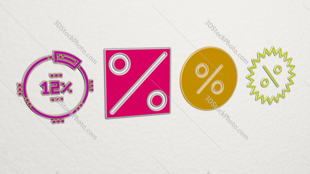 percentage 4 icons set
