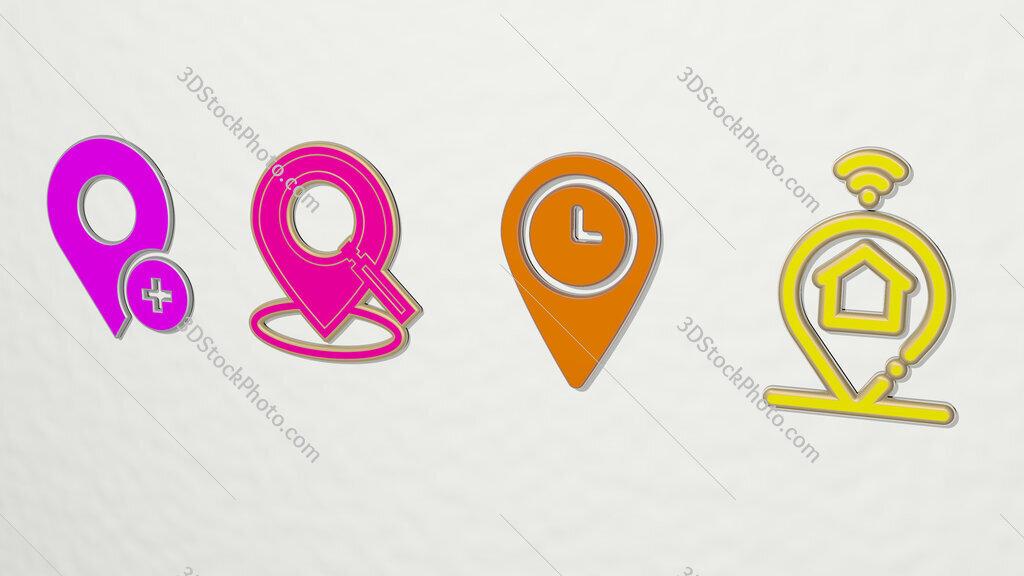 pin 4 icons set