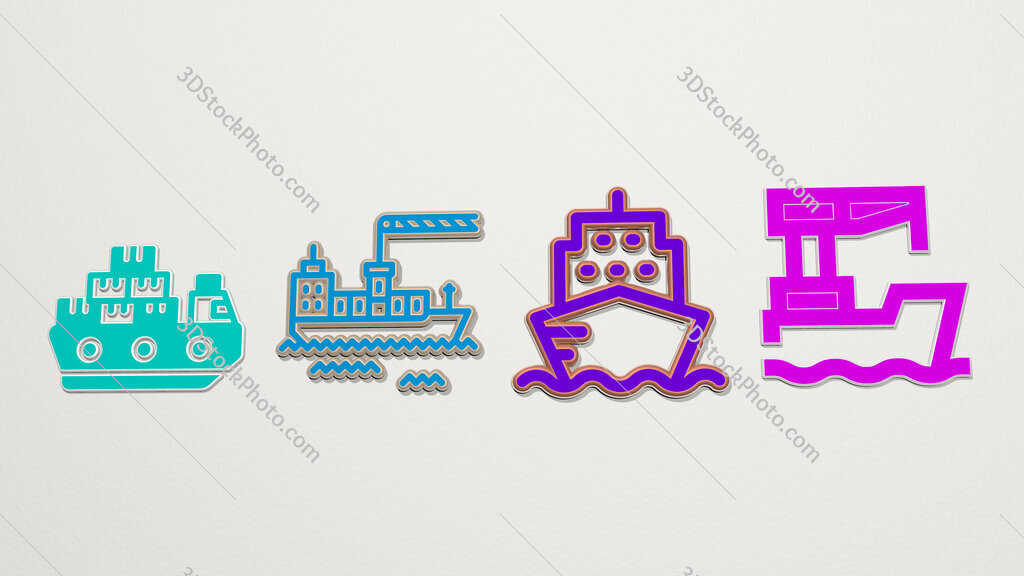 cargo ship 4 icons set