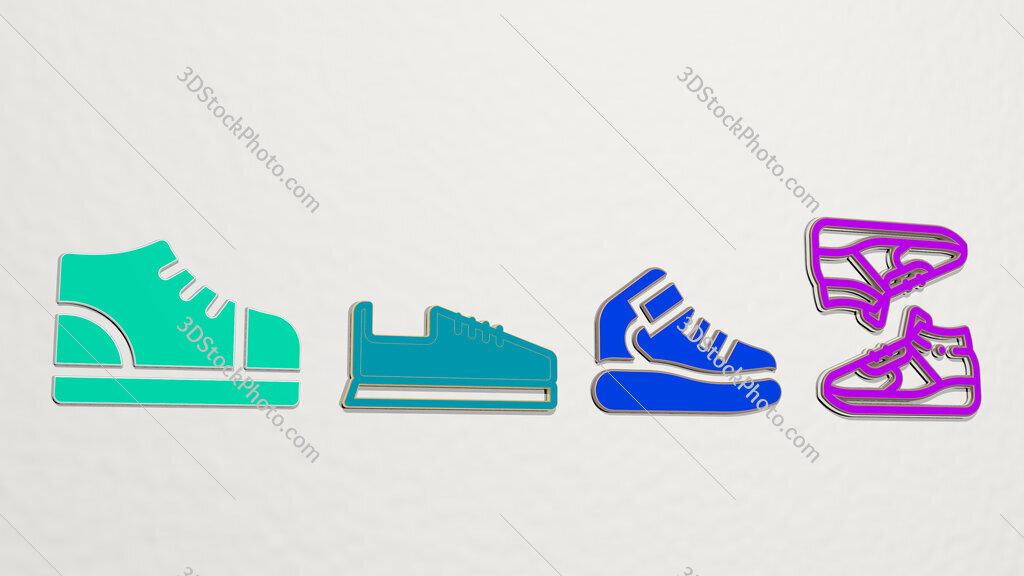 sneaker 4 icons set