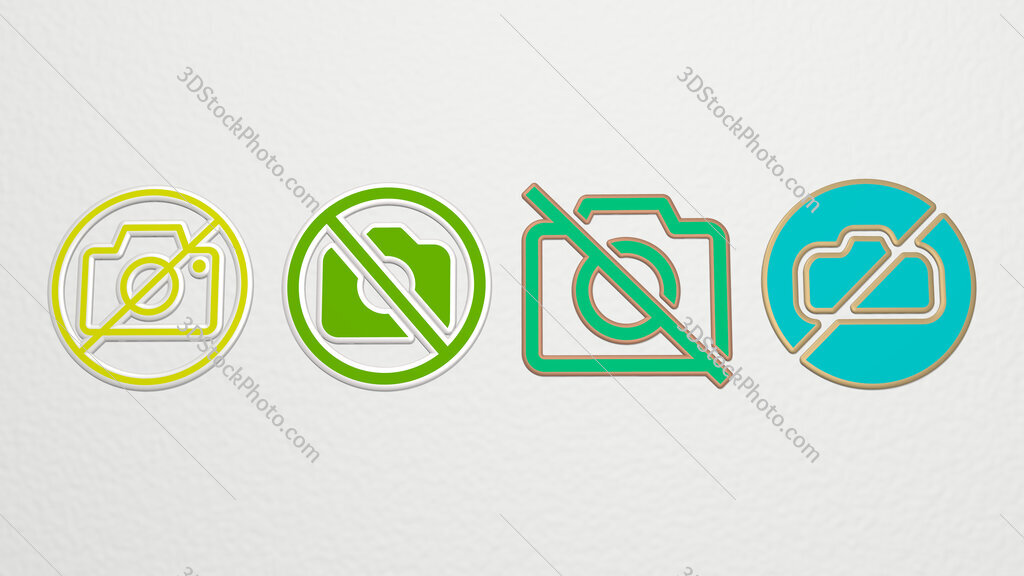no pictures 4 icons set