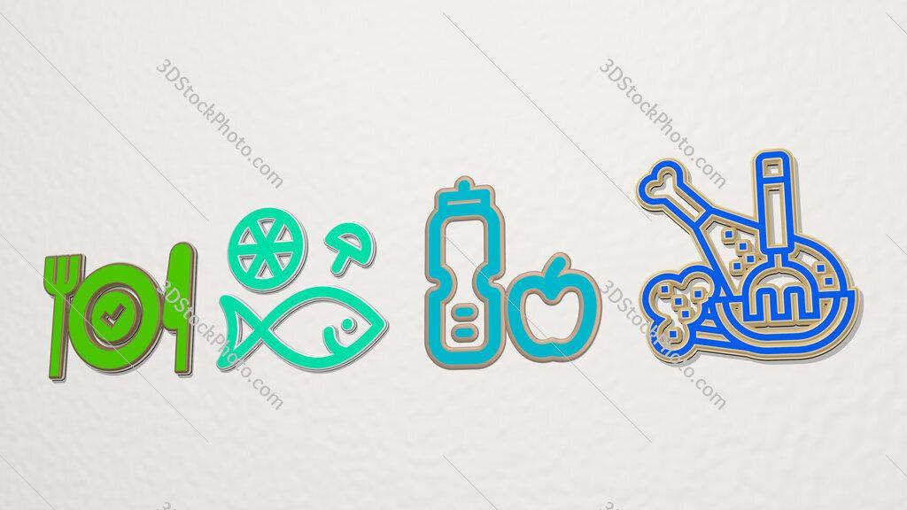 healthy food 4 icons set
