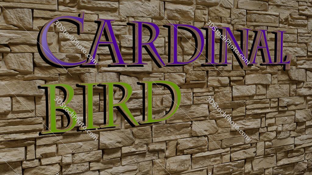 cardinal bird text on textured wall