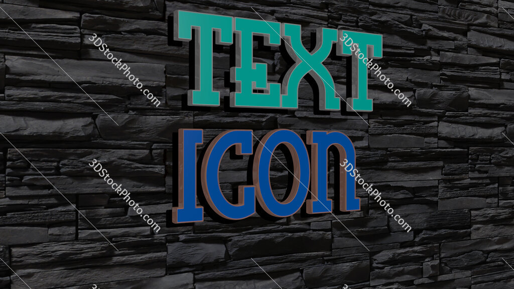 text icon text on textured wall