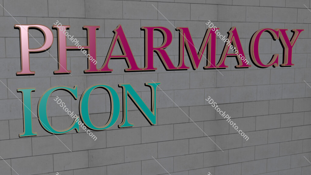 pharmacy icon text on textured wall