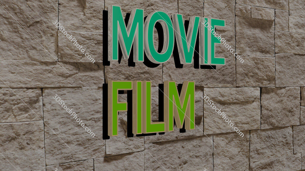 movie film text on textured wall