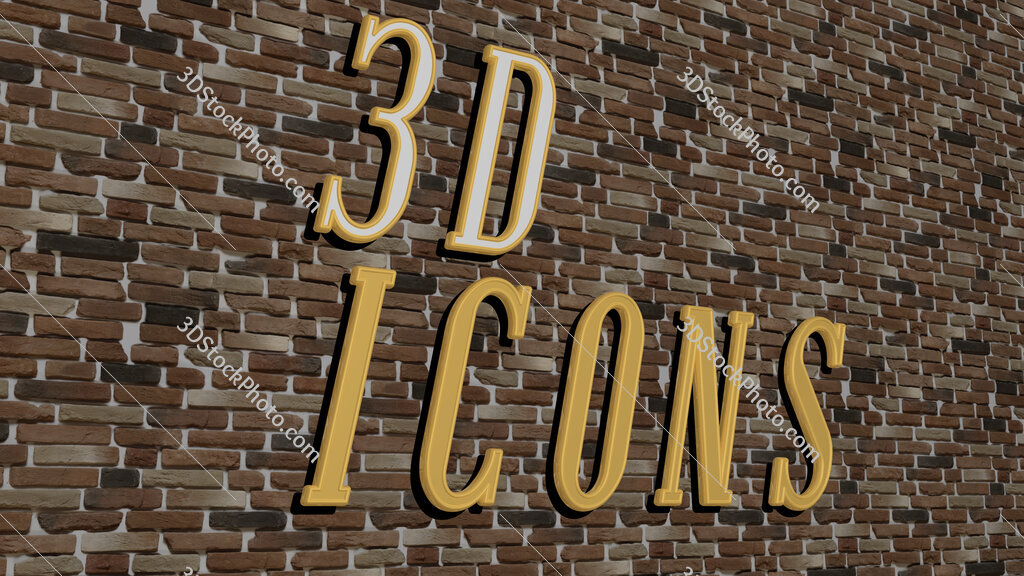 3d icons text on textured wall