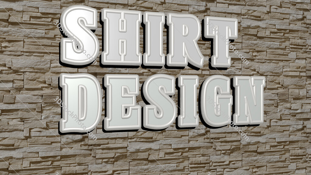 shirt design text on textured wall