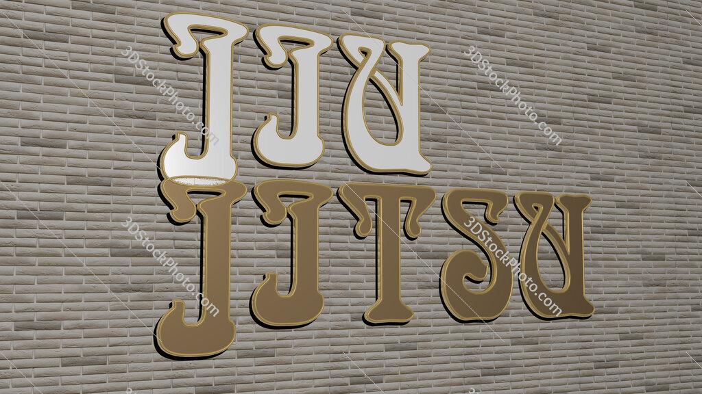 jiu jitsu text on textured wall