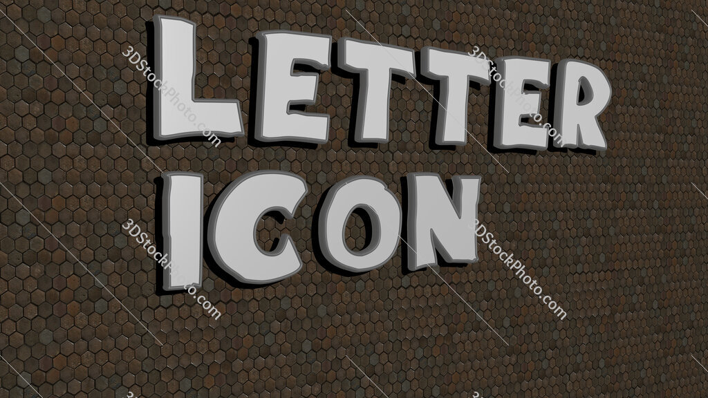 letter icon text on textured wall