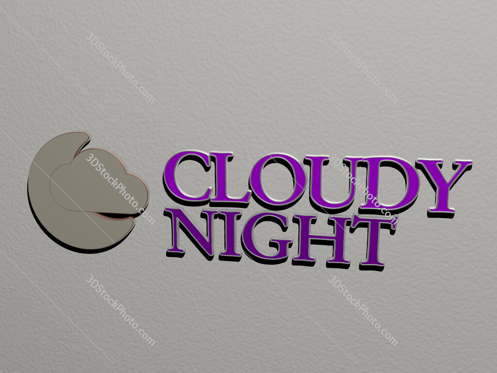 cloudy night icon and text on the wall