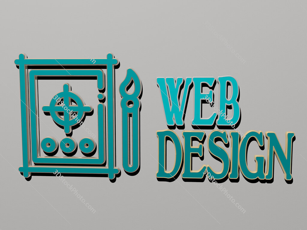 web design icon and text on the wall