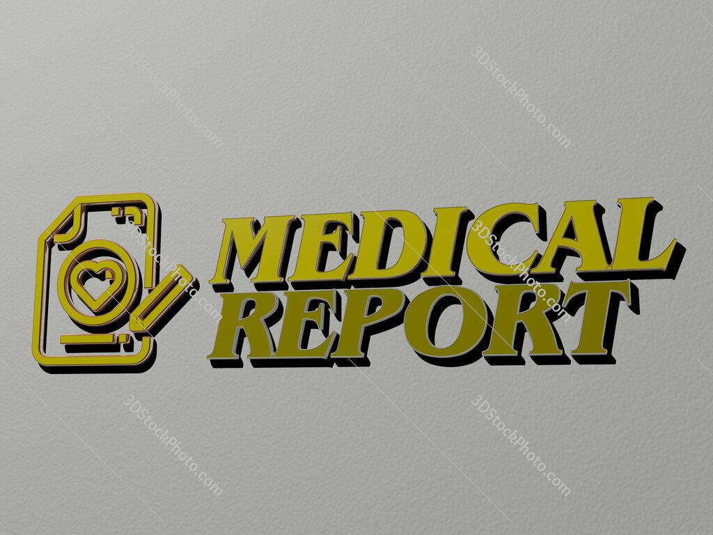 medical report icon and text on the wall