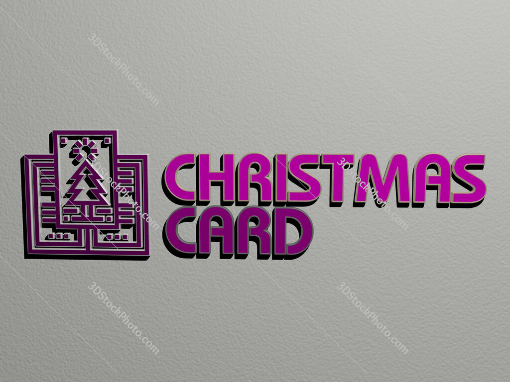 christmas card icon and text on the wall
