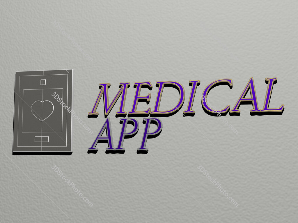 medical app icon and text on the wall