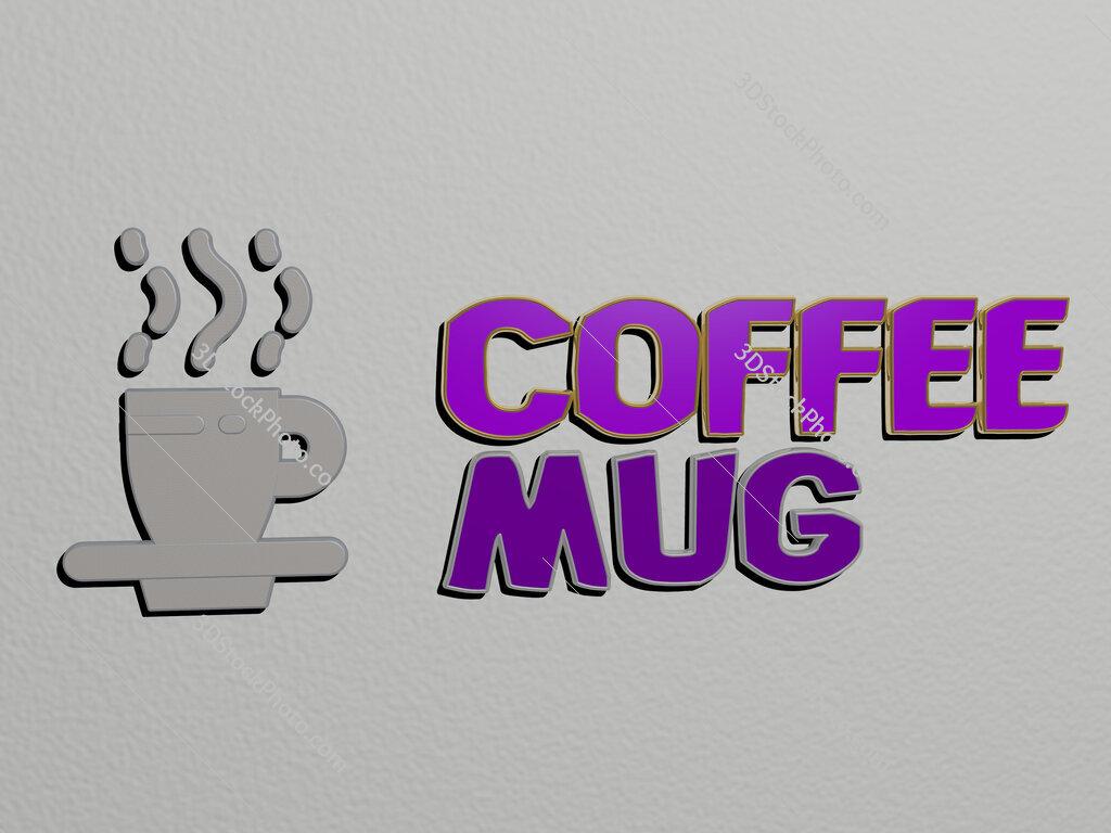 coffee-mug icon and text on the wall
