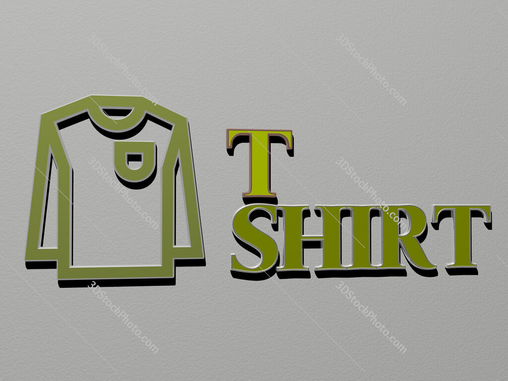 t shirt icon and text on the wall