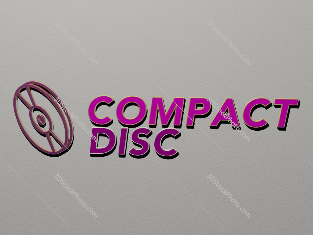 compact disc icon and text on the wall