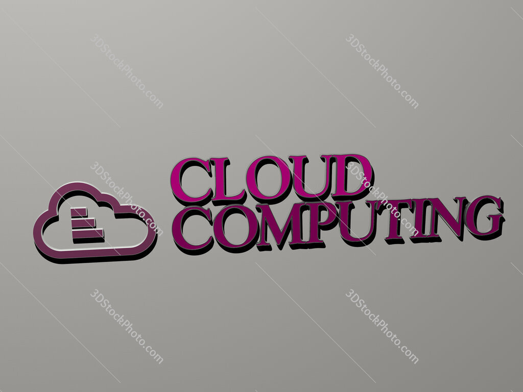 cloud computing icon and text on the wall