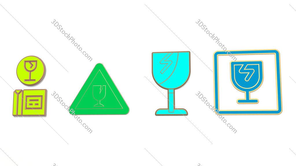 fragile 4 icons set