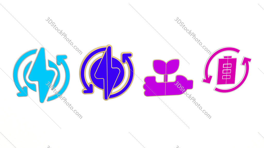 recycled 4 icons set