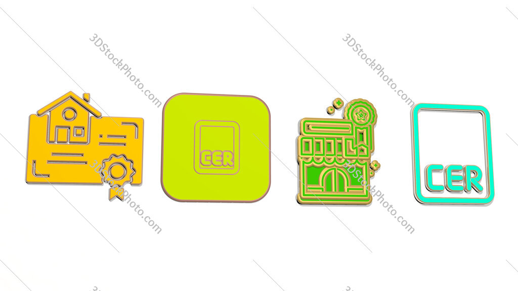 certification 4 icons set