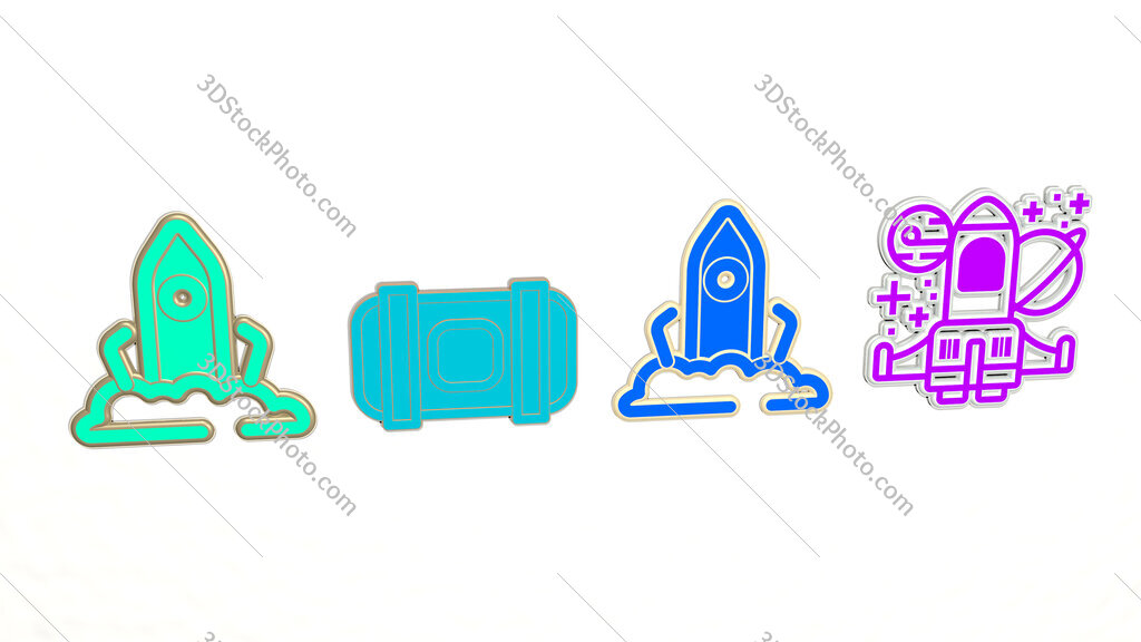 space ship 4 icons set
