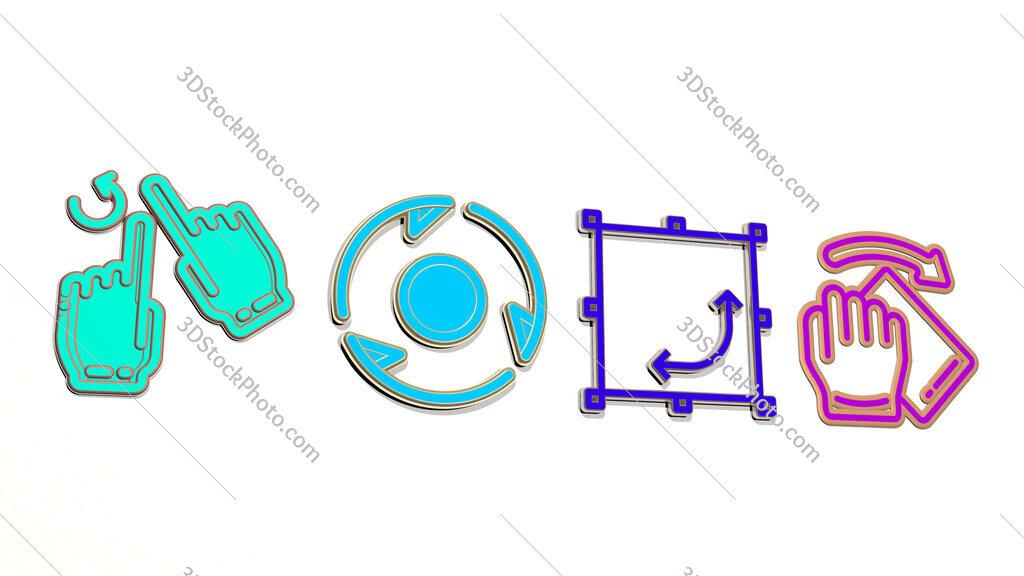 rotate 4 icons set