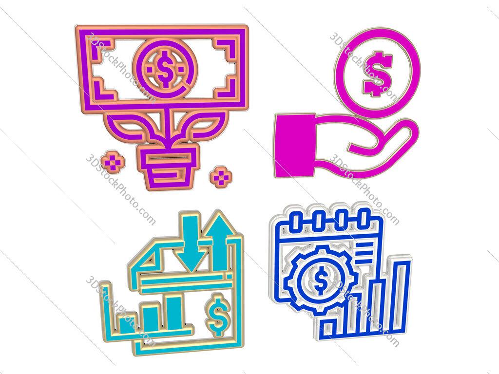 incomes 4 icons set